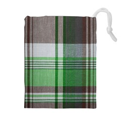 Plaid Fabric Texture Brown And Green Drawstring Pouches (extra Large) by BangZart