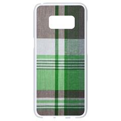 Plaid Fabric Texture Brown And Green Samsung Galaxy S8 White Seamless Case by BangZart