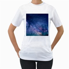 Galaxy Nebula Astro Stars Space Women s T Shirt (white)  by paulaoliveiradesign