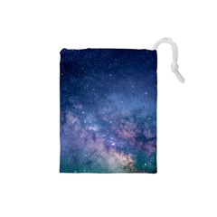 Galaxy Nebula Astro Stars Space Drawstring Pouches (small)  by paulaoliveiradesign