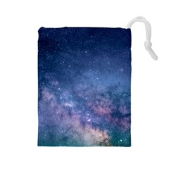 Galaxy Nebula Astro Stars Space Drawstring Pouches (large)  by paulaoliveiradesign