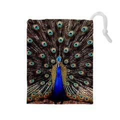 Peacock Drawstring Pouches (large)  by BangZart
