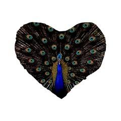 Peacock Standard 16  Premium Flano Heart Shape Cushions by BangZart