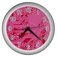 Pink Circuit Pattern Wall Clocks (silver)  by BangZart
