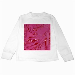 Pink Circuit Pattern Kids Long Sleeve T Shirts