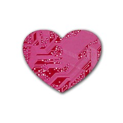 Pink Circuit Pattern Heart Coaster (4 Pack)