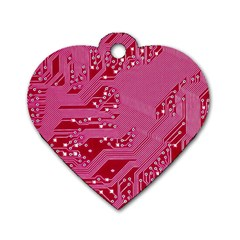 Pink Circuit Pattern Dog Tag Heart (one Side) by BangZart