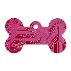 Pink Circuit Pattern Dog Tag Bone (two Sides) by BangZart