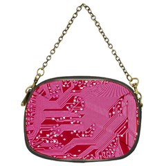 Pink Circuit Pattern Chain Purses (two Sides)  by BangZart
