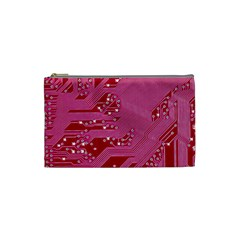 Pink Circuit Pattern Cosmetic Bag (small)