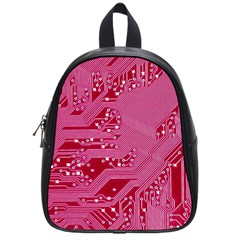 Pink Circuit Pattern School Bags (small)  by BangZart