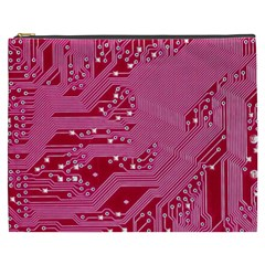 Pink Circuit Pattern Cosmetic Bag (xxxl)  by BangZart