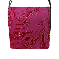 Pink Circuit Pattern Flap Messenger Bag (l)