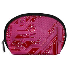 Pink Circuit Pattern Accessory Pouches (large)
