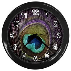 Peacock Feather Wall Clocks (black)