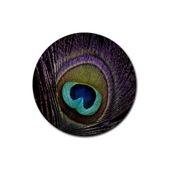 Peacock Feather Rubber Coaster (round)  by BangZart