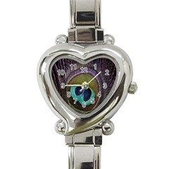 Peacock Feather Heart Italian Charm Watch by BangZart