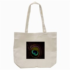 Peacock Feather Tote Bag (cream) by BangZart