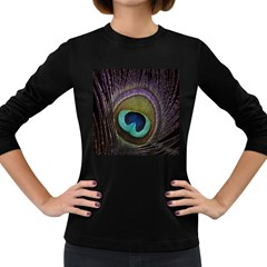 Peacock Feather Women s Long Sleeve Dark T Shirts by BangZart