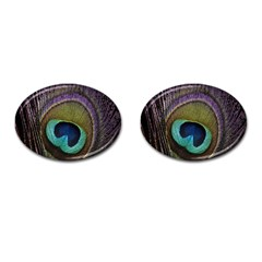 Peacock Feather Cufflinks (oval)