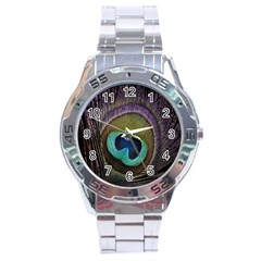 Peacock Feather Stainless Steel Analogue Watch