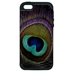Peacock Feather Apple Iphone 5 Hardshell Case (pc+silicone) by BangZart