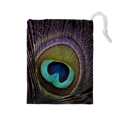 Peacock Feather Drawstring Pouches (large)  by BangZart