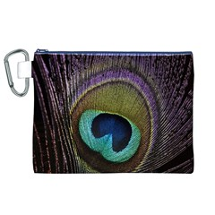 Peacock Feather Canvas Cosmetic Bag (xl) by BangZart