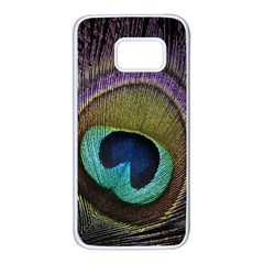 Peacock Feather Samsung Galaxy S7 White Seamless Case by BangZart