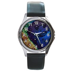 Peacock Feather Retina Mac Round Metal Watch