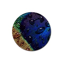 Peacock Feather Retina Mac Rubber Round Coaster (4 Pack)