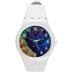 Peacock Feather Retina Mac Round Plastic Sport Watch (m)