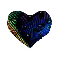 Peacock Feather Retina Mac Standard 16  Premium Flano Heart Shape Cushions by BangZart