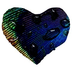 Peacock Feather Retina Mac Large 19  Premium Flano Heart Shape Cushions by BangZart