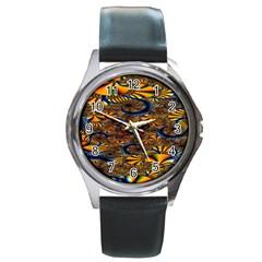 Pattern Bright Round Metal Watch