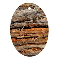Natural Wood Texture Oval Ornament (two Sides)