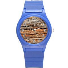 Natural Wood Texture Round Plastic Sport Watch (s)