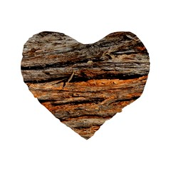 Natural Wood Texture Standard 16  Premium Flano Heart Shape Cushions by BangZart