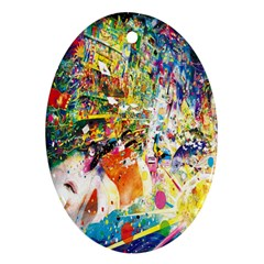 Multicolor Anime Colors Colorful Ornament (oval) by BangZart