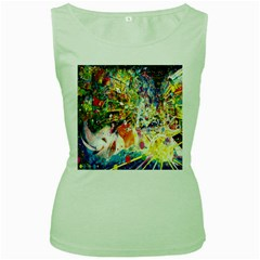 Multicolor Anime Colors Colorful Women s Green Tank Top