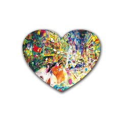 Multicolor Anime Colors Colorful Rubber Coaster (heart)  by BangZart