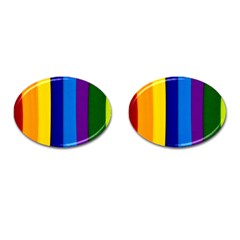 Paper Rainbow Colorful Colors Cufflinks (oval) by paulaoliveiradesign