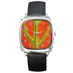Nature Leaves Square Metal Watch