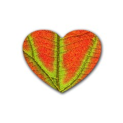 Nature Leaves Rubber Coaster (heart)  by BangZart