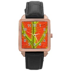 Nature Leaves Rose Gold Leather Watch