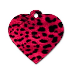 Leopard Skin Dog Tag Heart (one Side)