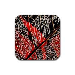 Leaf Pattern Rubber Square Coaster (4 Pack)  by BangZart