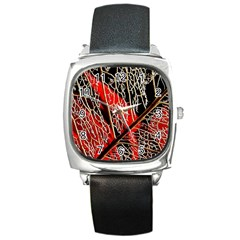 Leaf Pattern Square Metal Watch