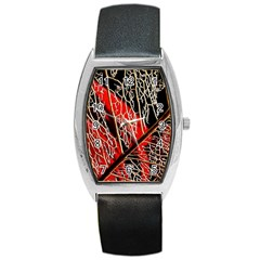 Leaf Pattern Barrel Style Metal Watch by BangZart