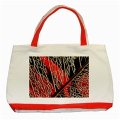 Leaf Pattern Classic Tote Bag (red) by BangZart